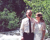 A couple enjoying their Rocky Mountain vacation wedding at Hideout Cabins