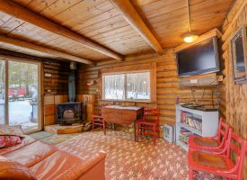 Our Honeymoon Hideout has a wood stove for keeping warm on Rocky Mountain nights