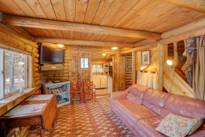 Another view of the living room at Hideout Cabins' Honeymoon Cabin